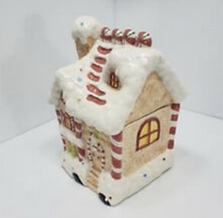 Candy Cane Gingerbread House Ceramic Cookie Jar