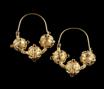Earrings 3 Kugle gold plated