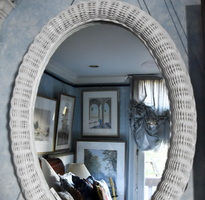 Mirror With White Wicker Border
