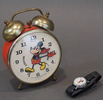 Vintage Mickey Mouse clock and watch