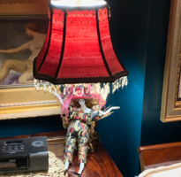 one of a kind doll lamp with red shade